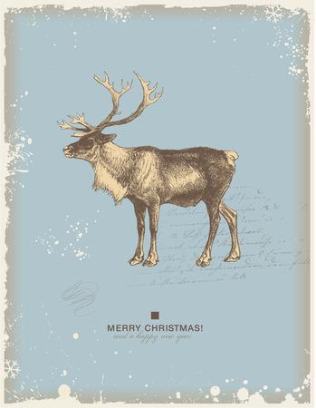 northpole: besneeuwde retro Kerstwinter achtergrond of wens kaart met rendier