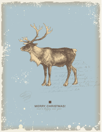 snowy retro christmaswinter background or greeting card with reindeer