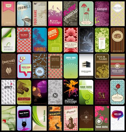 ensemble de 40 cartes de visite d�taill�e vertical dans des styles diff�rents Illustration