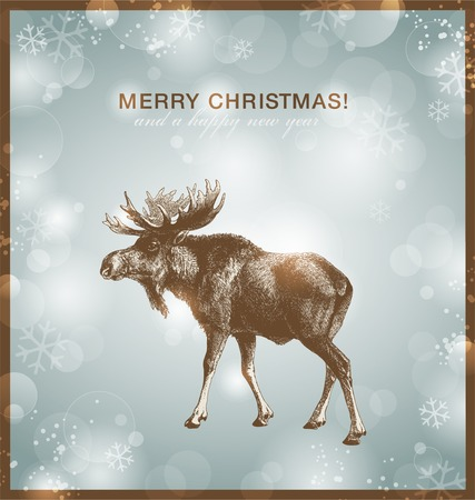 bright winter/christmas background or card with moose against a snowy blurred background  Stock Illustratie