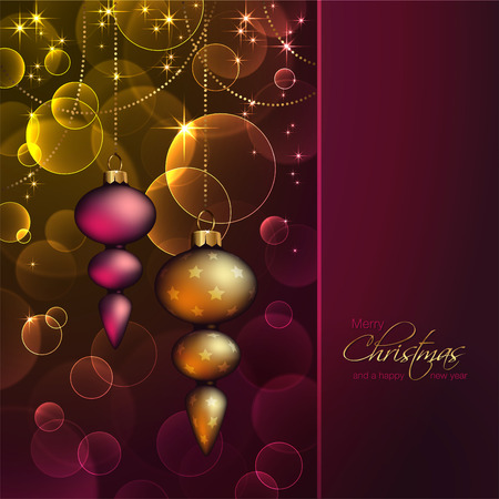 romantic christmas background with ornaments Illustration