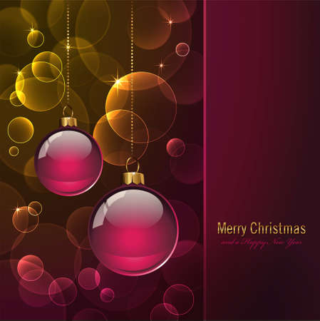 blurred lights: colorful cristmas card with baubles and warm blurred lights  Illustration