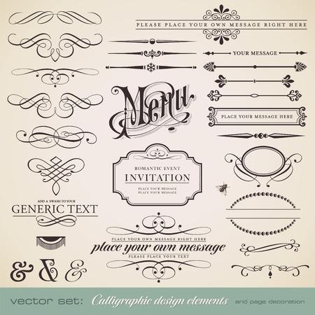 calligraphique: vector set: �l�ments de design et de d�coration calligraphique page - beaucoup d'�l�ments utiles pour embellir votre mise en page