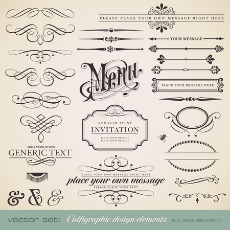 vector set: calligraphic design elements and page decoration - lots of useful elements to embellish your layout  Illustration