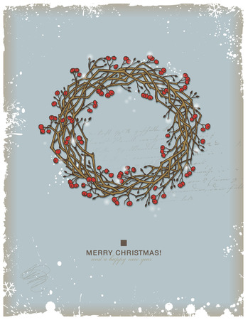 slingers: handgetekende kroon van Kerstmis met rode bessen