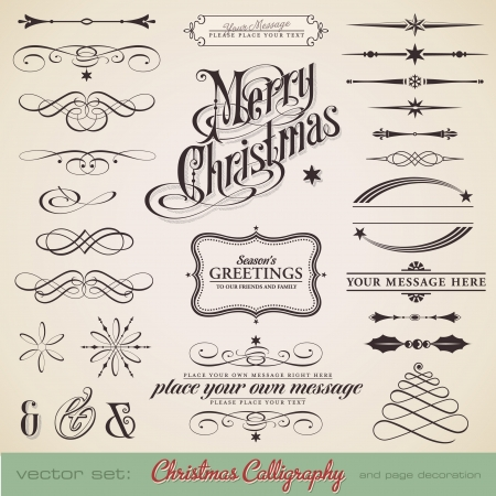 christmas calligraphy set - lots of elements to embellish your holiday layouts 矢量图像