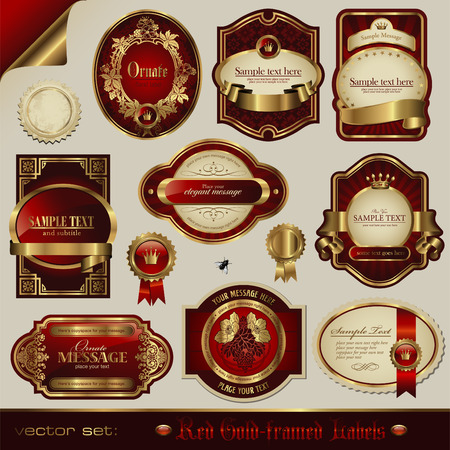 red and golden labels in different styles