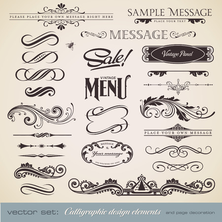 calligraphic design elements and page decoration - lots of useful elements to embellish your layout Stock Vector - 8746664