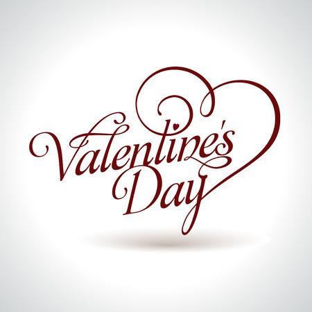 calligraphic Valentines headline with heart  Illustration