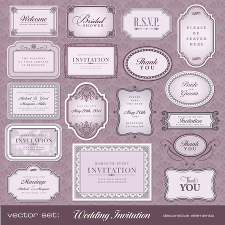 Set of ornate frames and ornaments with sample text. Perfect for classical invitation or announcement cards.  Vector