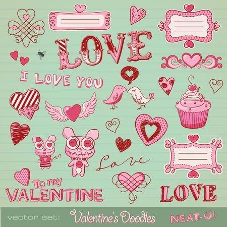 ベクトルのセット: バレンタインの落書き - キュートなデザイン要素の多く