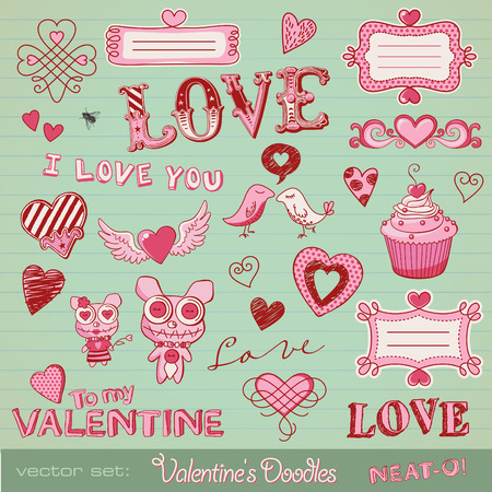 vector set: Valentines doodles - lots of cute design elements  Illustration