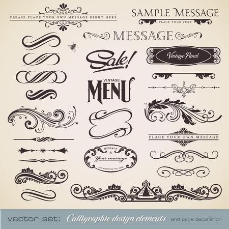filigree: kalligrafische ontwerpelementen en pagina decoratie (3) - veel nuttige elementen voor het verfraaien van uw lay-out  Stock Illustratie