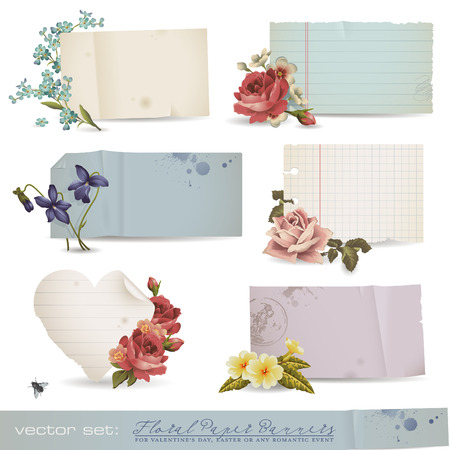 floral paper banners - variety of old sheets of paper with romantic flowers (no mesh or transparency used) Stock Vector - 8753468