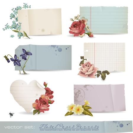 papier floral banni�res - vari�t� de vieux de feuilles de papier avec des fleurs romantiques (aucune mesh ou la transparence utilis�e)