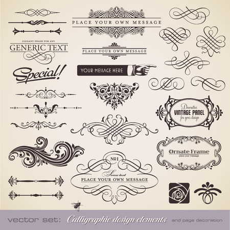 calligraphic design elements and page decoration - lots of useful elements to embellish your layout  Stock Vector - 8753466