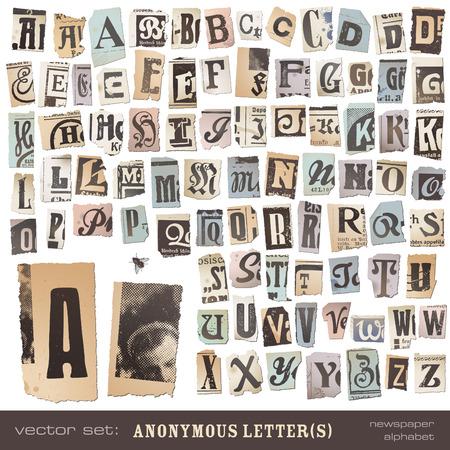 mag: vector set alphabet bas� sur des d�coupes de journaux vintage - id�al pour vos lettres de menaces, des notes de ran�on ou de projets similaires; toutes les lettres sont regroup�s et tr�s d�taill�e textur� Illustration