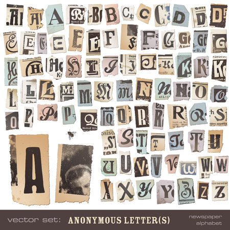 blackmail: vector set  alphabet based on vintage newspaper cutouts - ideal for your threatening letters, ransom notes or similar      projects  ;  all letters are grouped and highly detailed textured
