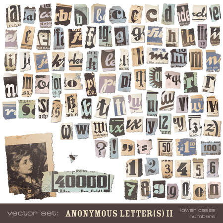vector set  alphabet based on vintage newspaper cutouts part 2  lower cases and numbers  - ideal for your threatening letters, ransom notes or similar      projects  ;  Vector