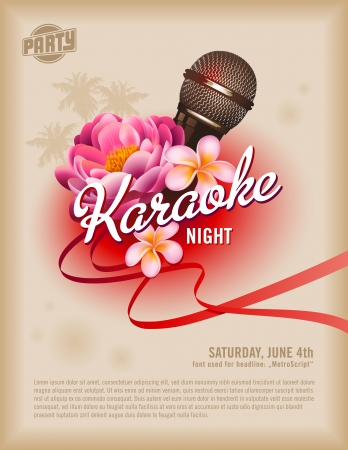 oldie: retro party flyer or poster template with microphone and exotic flowers