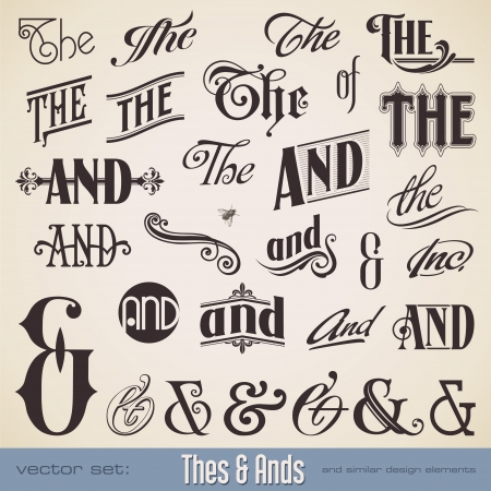 vector set  ornate hand-lettered thes   ands - perfect for headlines, signs or similar graphic projects