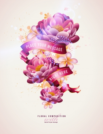 garden design: colorful floral composition with watercolor splats and banner for your text Illustration