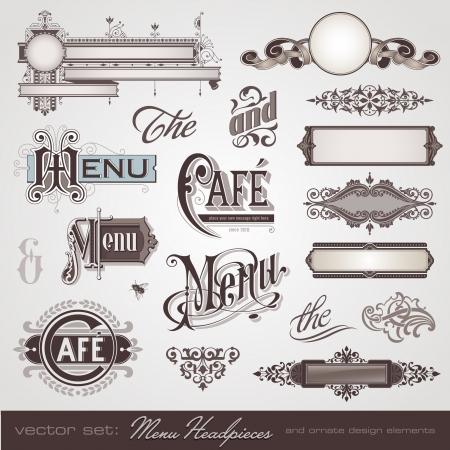 vector set  menu headpieces, panels and ornate design elements