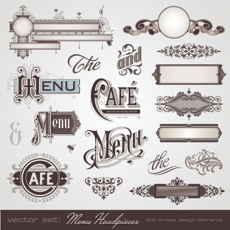facture restaurant: ensemble de vecteurs coiffes de menu, des panneaux et des �l�ments de design fleuri