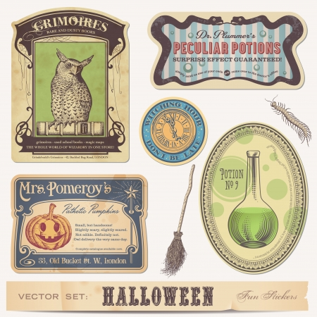 set of halloween stickers labels and design elements