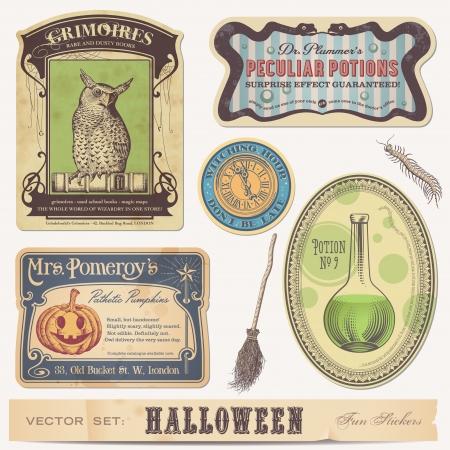 pocion: Conjunto de pegatinas etiquetas de Halloween y elementos de diseño