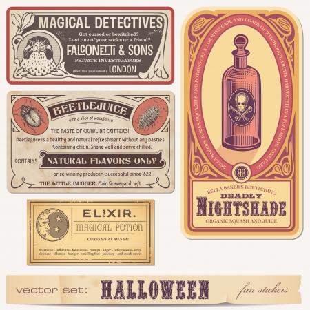 elixir: conjunto de divertidas pegatinas de halloween o etiquetas Vectores