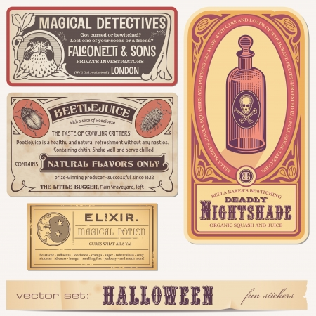 set of funny halloween stickers or labels Illustration