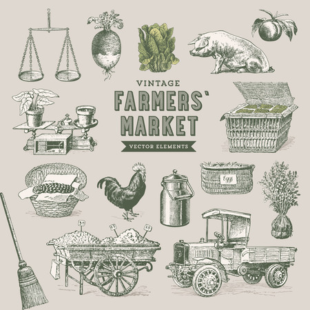 produce product: farmers  market - set of nostalgic vector elements Illustration
