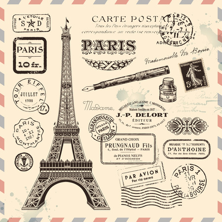 파리 우표 디자인 요소의 컬렉션 일러스트