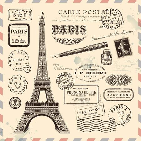 paris vintage: colección de elementos de diseño de postales de París