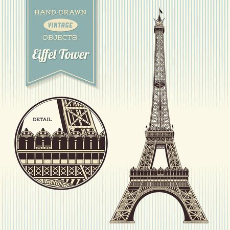 レトロなエッフェル塔の手描きイラスト  イラスト・ベクター素材