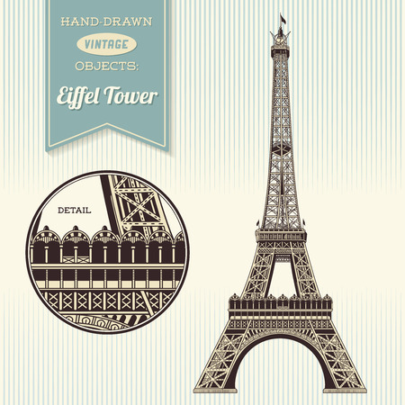 hand-drawn retro Eiffel Tower illustration