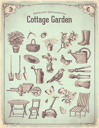lawn chair: cottage garden Illustration