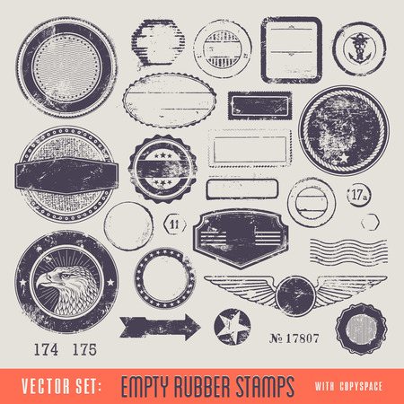 postage stamp: set of grungy rubber stamps with copyspace for your text