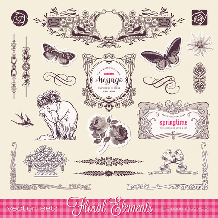floral design elements and page decoration Vector