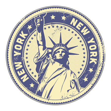 grungy New York stamp  textures removable  Ilustrace