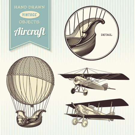 biplane: hand-drawn vintage aircraft illustrations