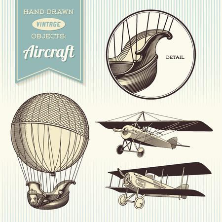 luftschiff: handgezeichnete Illustrationen Oldtimer-Flugzeugen