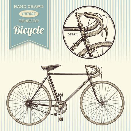 ilustración bicicleta de la vendimia a mano Ilustración de vector