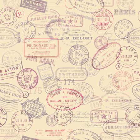 timbre postal: franqueo fondo tem�tico con azulejos de sellos de la vendimia Vectores
