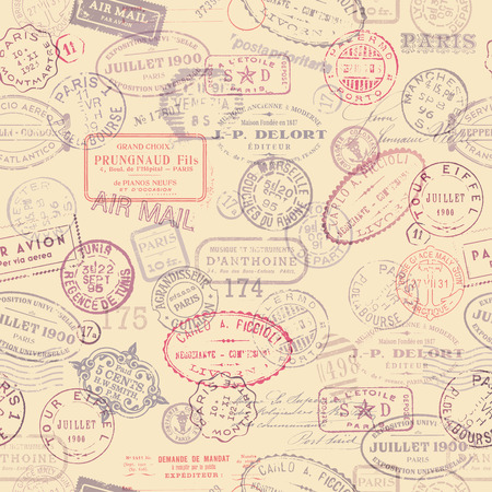 postage themed background with vintage stamps  tiling  Vector
