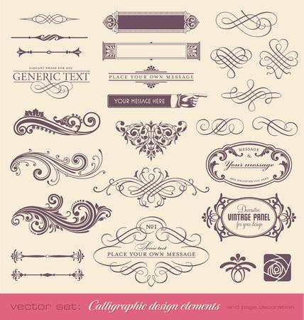 ベクトル設定カリグラフィのデザイン要素やページ装飾  イラスト・ベクター素材
