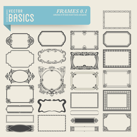basics: collection of 25 detailed hand-drawn frames and panels