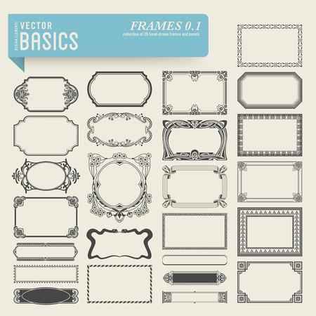 Sammlung von 25 detaillierte Hand gezeichnet Frames und Bedienfelder Standard-Bild - 27360821