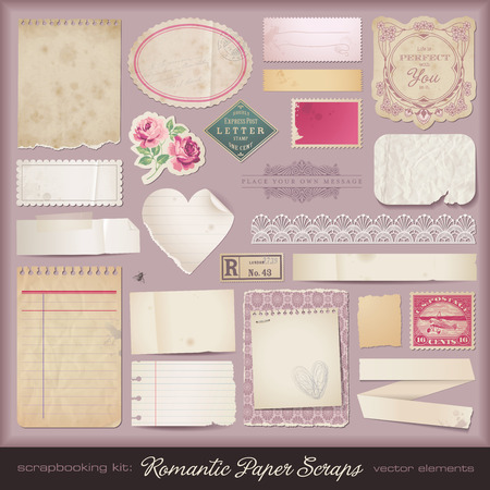 collection of romantic paper scraps and design elements Vector